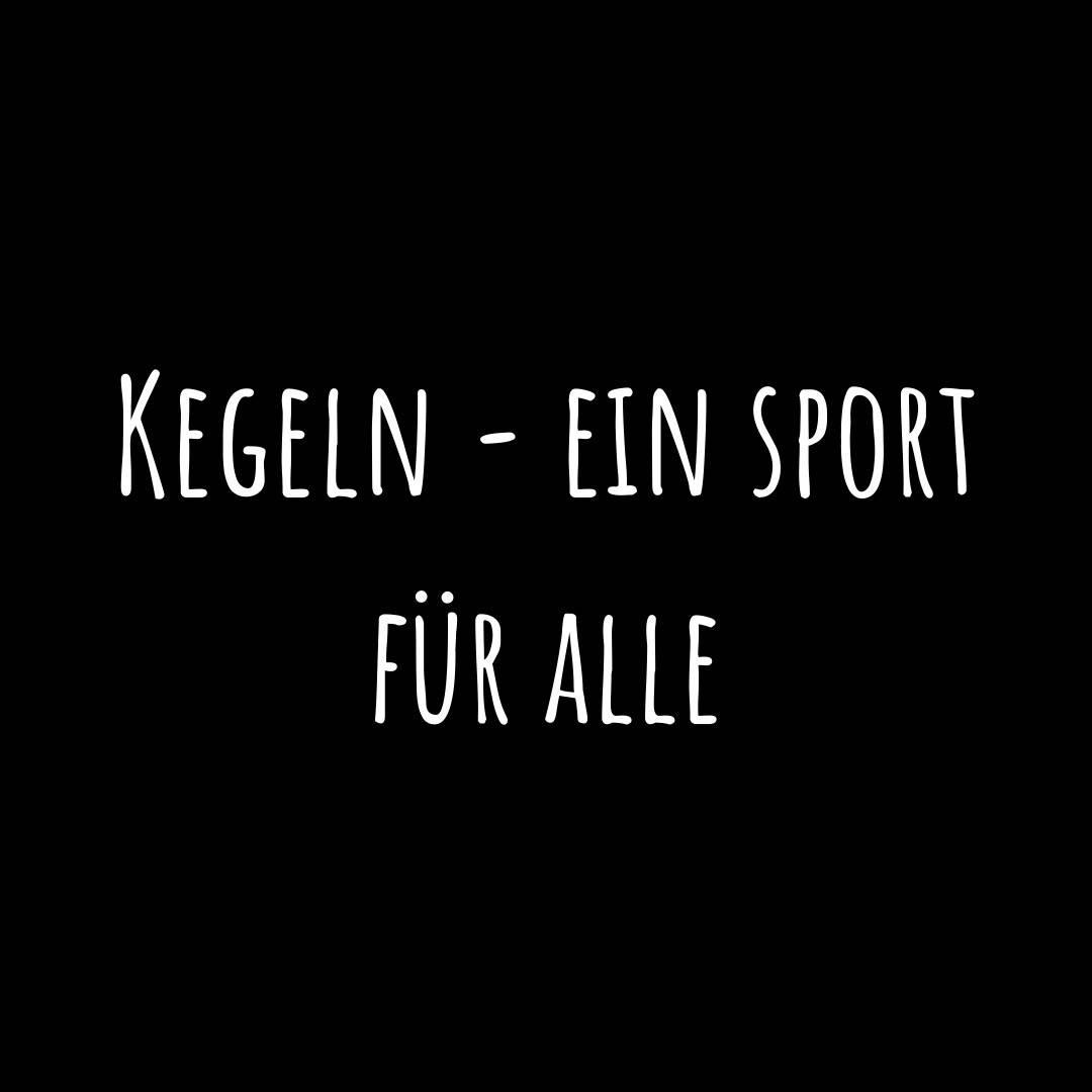 """1. Bild: Ein Schwarzer Hintergrund mit einer weißen Aufschrift (Projektname) """"Kegeln - Ein Sport für alle""""."""